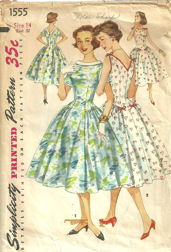 Simplicity 1555 Vintage Fifties Sewing Pattern