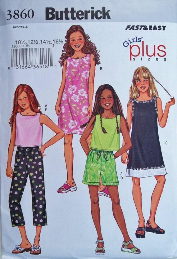 Girls' Plus Dress, Top, Pants & Shorts Sz 10 to 16 plus Butterick 3860 uncut sewing pattern