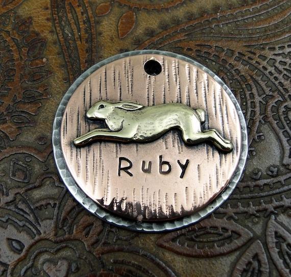 Rabbit ID Dog Tag-Personalized Dog Collar ID Tag-Custom Pet ID Tag-Rabbit Pet Tag