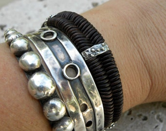 Sterling Silver Chocolate Leather Bracelet Artisan Bracelet Handcrafted Stacking