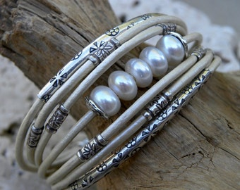 Sterling Silver and Pearl White Leather Bracelet Multiple Strands Bridal Wedding Winter Snow Holidays