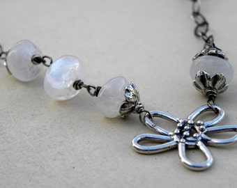 Sterling Silver and Rainbow  Moonstone Chain Necklace Artisan Wire Wrapped  White Gemstone Winter Snow