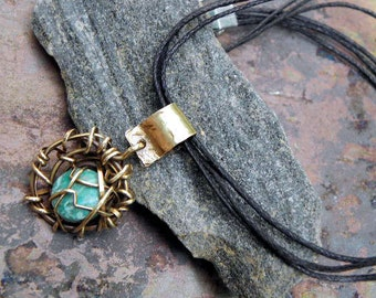 Turquoise Nest, Brass, 14K Gold filled, and Turquoise necklace, ThePurpleLilyDesigns