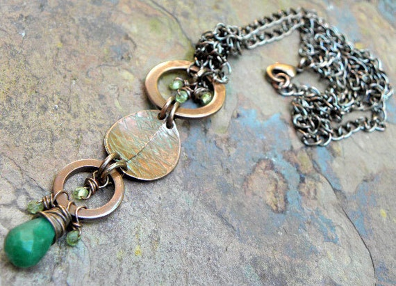 Forest Charm, Copper, Peridot, and Adventurine Necklace, ThePurpleLilyDesigns