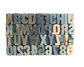 40 Piece Set of Vintage Wood Letterpress Type Full Alphabet a to z numbers and punctuation