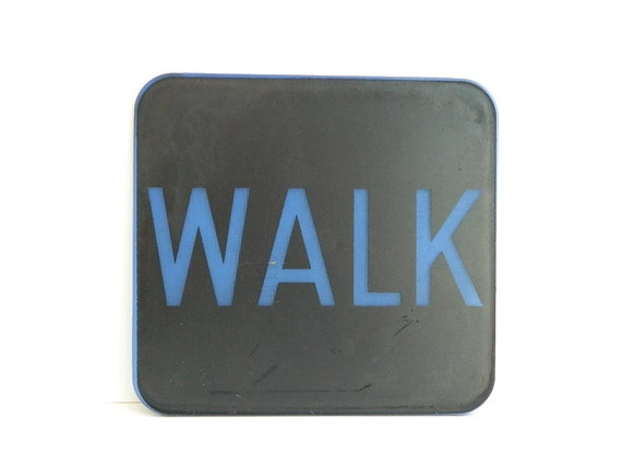 Vintage PLASTIC WALK street traffic sign