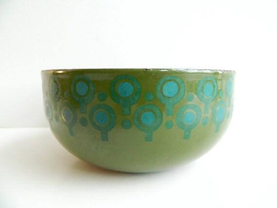 Mod green and blue Enamel VEFA Bowl Merrill Ames