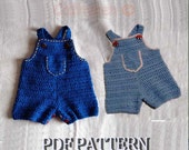 Baby Jeans, Dungaree, Overall shorties,Shortalls, Buttons at legs for easy change -INSTANT DOWNLOAD Crochet Pattern