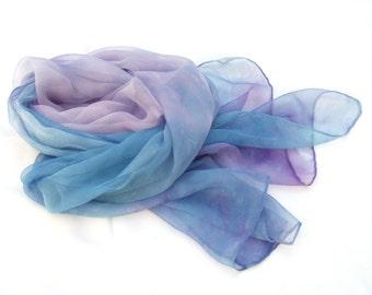 Rhapsody scarf, hand painted scarf, silk scarf, Blue scarf, Lavender scarf, feminine, Soft scarf, Pastel scarf, Long scarf, Unique gift