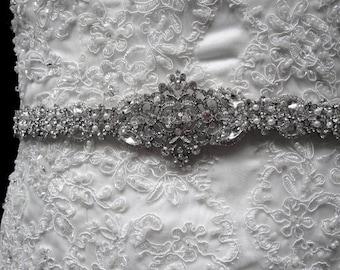 Vera Vintage Chic Victorian Style Wedding Dress Gown Crystal Embellishment Brooch Sash Beaded Belt