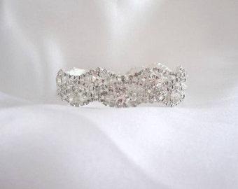 Wedding Bridal Rhinestone Crystal Bracelet Cuff with Button Closure