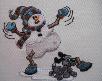 6 Snowmen  Embroidered Quilt Blocks