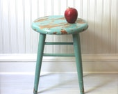 Aqua Wooden Stool Primitive Rustic Shabby Country Chippy