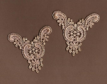 Hand Dyed Venise Lace  Appliques Edwardian Accents Set of 2 Vintage Blush Latte
