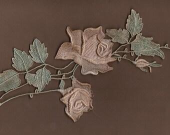 Hand Dyed Venise Lace Rose Applique Vintage Sea Blush