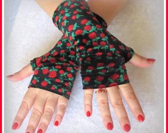 Fingerless gloves velvet Red Tulips
