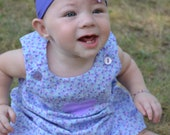 Reversible A-line Purple Baby Dress and Bloomers Size 6 Months