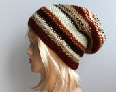 Striped ecru, beige, chocolate brown, cinnamon slouchy hat,knitted oversized beanie,hand knitted slouchy hat, ready to ship