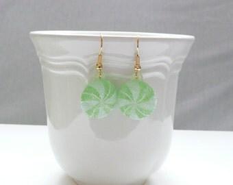 Light Green Swirl Hard Candy Dangle Earrings
