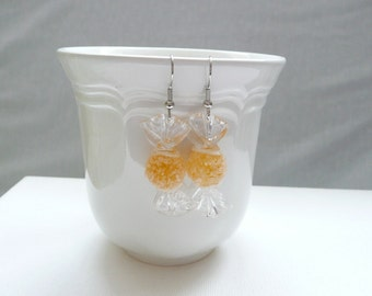 Yellow Frosted Hard Candy Dangle Earrings