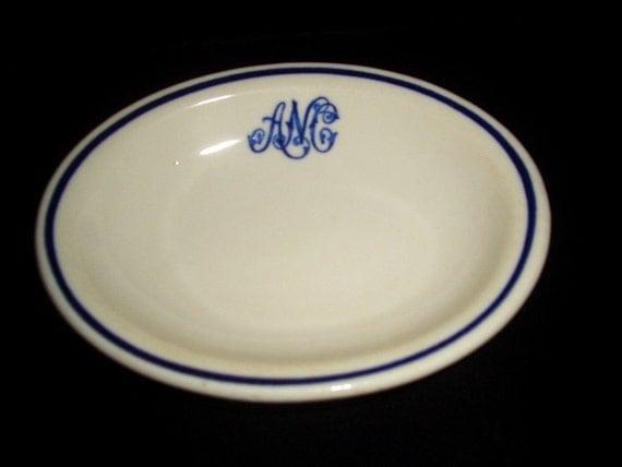 Ironstone  Soap Dish Blue on White Trenton China A N C