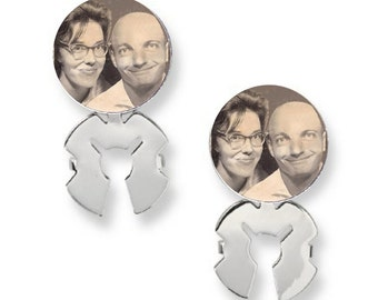 Groom's Tuxedo or Dress Shirt Photo Memorial Glass Capped Button Cover Set - FREE SHIPPING