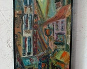 MOD-LOVE SALE! Abstract Paris Painting Original Mid Century Abstract Painting Paris Cityscape Street Scene Mid Century Abstract Painting