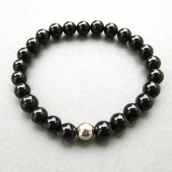 Mens semi-precious black agate beaded stretch bracelet with sterling silver bead