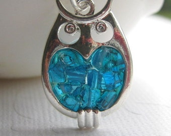 Stained Glass Owl Charm Necklace, Blue Owl Necklace, Blue Bird Jewelry