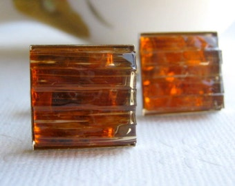 Stained Glass Mosaic Amber Men's Jewelry Cuff Links