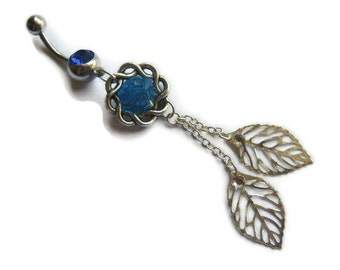 Leaf Belly Button Ring with Stained Glass