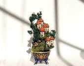Miniature Summer French Fairy Houses on the Hill - No. 28 -  Blue Porcelain Vessel with Mushrooms and Dark Green Trees