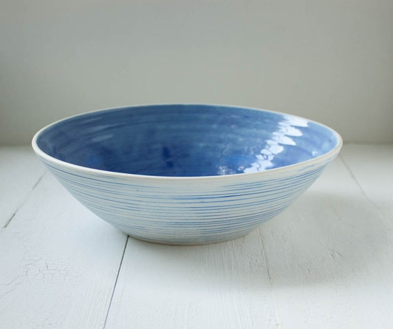 Reserved Blue and White Striped Porcelain Bowl