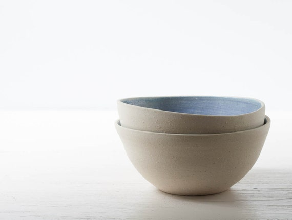 Two Stoneware Bowls in Denim and Buff