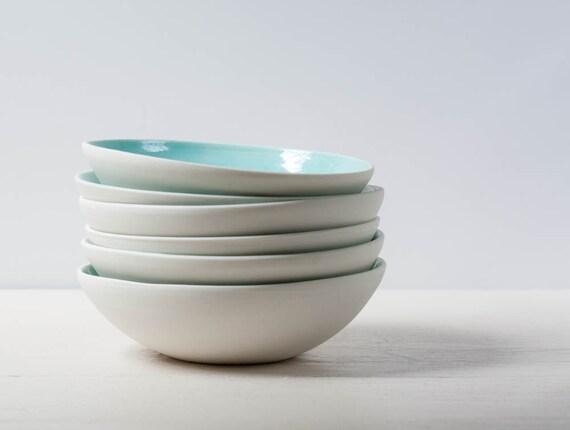 Two Aqua and White Porcelain Bowl