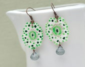 Lace Earrings, Green and White Earrings, Dotty Earrings, Copper Earrings, Quartz Onion Briolettes Bead Earrings, Prom Jewelry