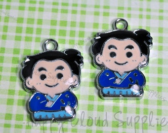 Cartoon Samurai Enamel Charms... 4pcs