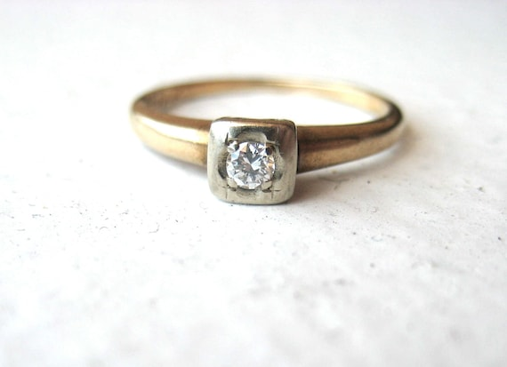 1950s Diamond Engagement Ring - 14 karat yellow gold, size 6, round solitaire, illusion setting