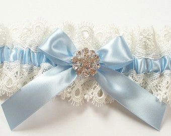 Blue Garter with Ivory Lace  - The AMY LYNN Garter