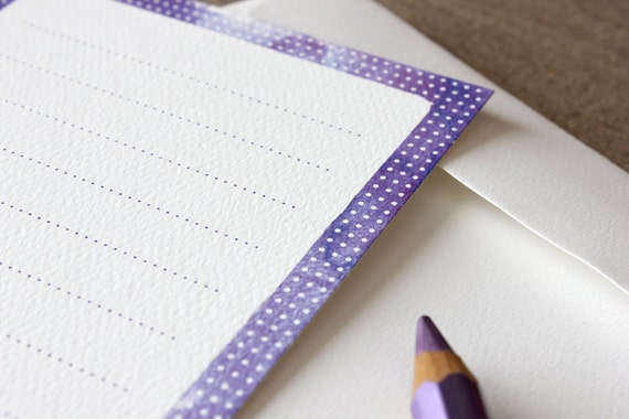 Polka Dots Note Card Set - 6 Pack - Purple, red, yellow, grey, green and blue with white spots