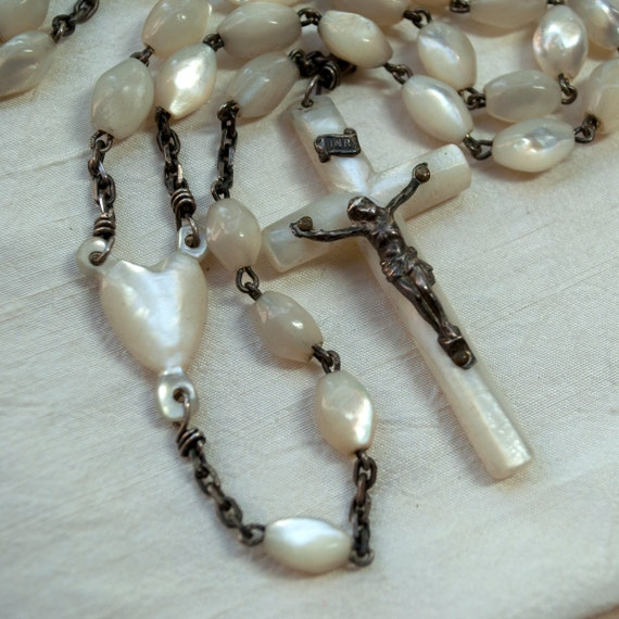 Antique Mother of Pearl Rosary White Metal Chain Hand Carved Heart Center