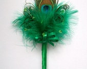 Emerald Green Peacock Feather Crystal or Pearl Fairy Wand  for a Flower Girl Wedding or Fancy Dress - Custom Made to Order