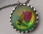 Bee and a Flower Resin Bottle Cap Necklace