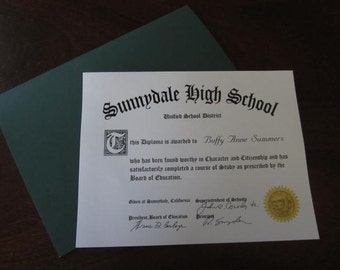 Buffy the Vampire Slayer Sunnydale High School Diploma Personalized Prop Replica