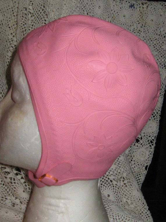 Vintage 1950s rubber pink Swim Cap by Sea Siren