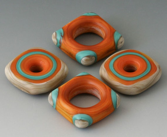 Southwest Squared Discs - (4) Handmade Lampwork Beads - Cream, Turquoise  - Etched, Matte