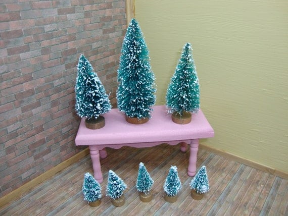 Dollhouse Miniatures Frosted Trees 8 Count Supplies