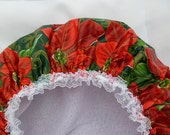 SALE Waterproof Shower Cap Durable Soft Vinyl Shower Cap with  Poinsettia Design Print Ready to Ship