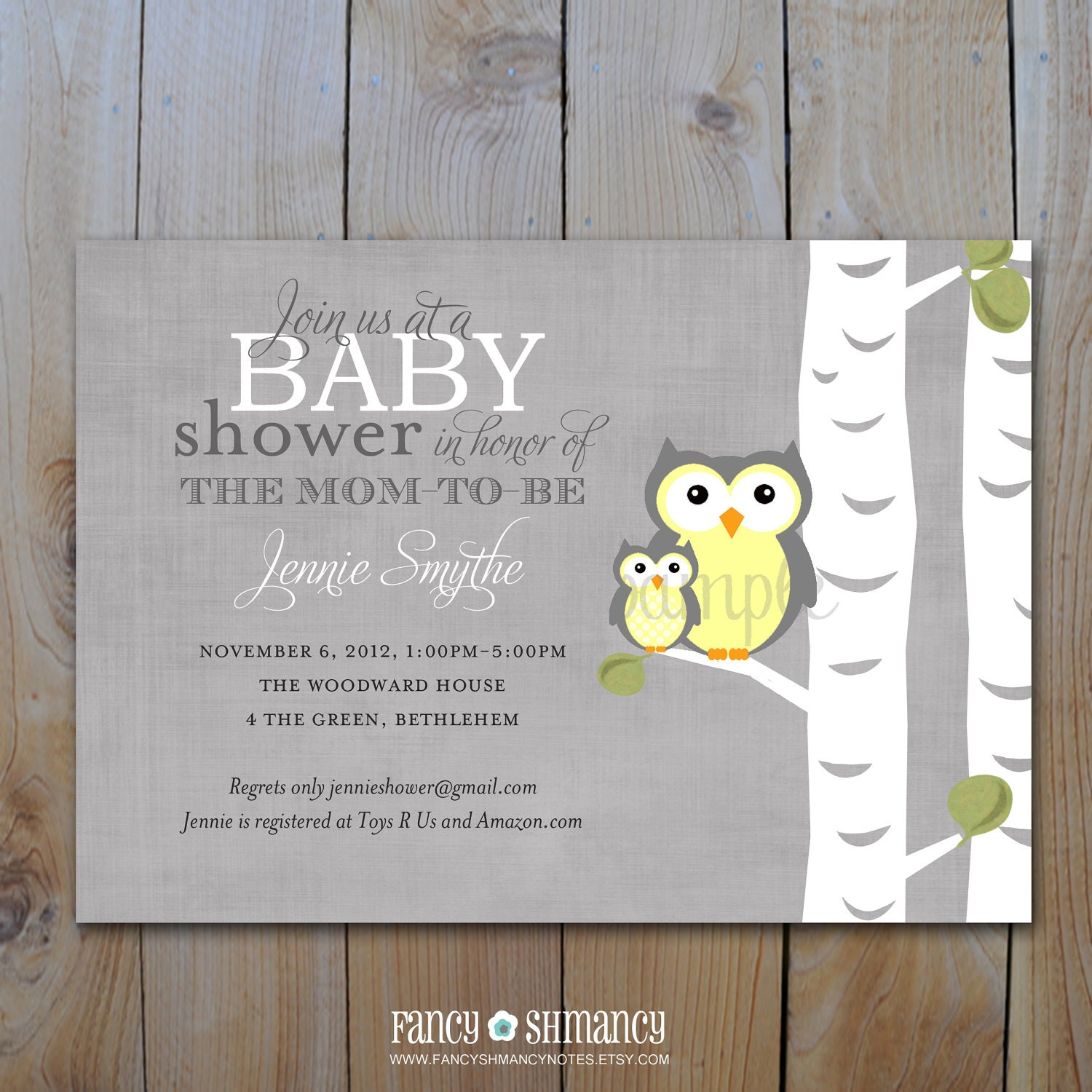 baby shower invitation gender neutral by fancyshmancynotes