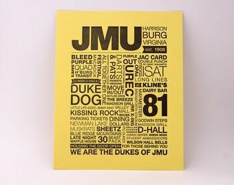 JMU Letterpress Print (Black Ink on Light Yellow Paper)
